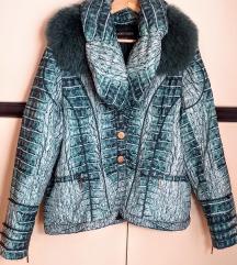 MONICA MAGNI animal print sa krznom jakna / L