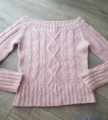 Pink pleteni pulover