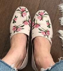 Zara roze cvjetne mokasine balerinke 37