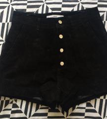 Kožne crne kratke hlače visoki struk