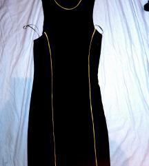 Crna haljina sa žutim prugama C&A