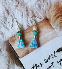 unikatne naušnice-anđelčići u plavim haljinicama
