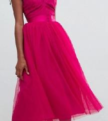 Asos design roza midi čipkasta haljina golih leđa