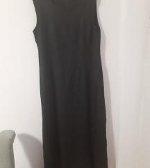 Midi lanena crna haljina 42-44