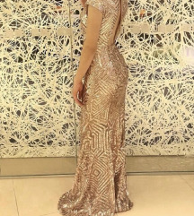 Svecana vecernja duga zlatna haljina