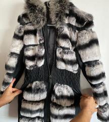 Krznena bunda od činčile i kože