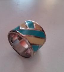 Prsten Debelo srebro s murano staklom