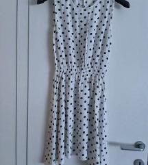 NOVO bijela haljina sa tamno plavim točkicama