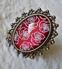 Prsten ''Red shimmer roses'' (ručni rad)