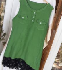 NOVA zelena ljetna haljina sa čipkom L