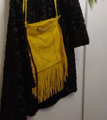 Žuta kožna torba sa resama