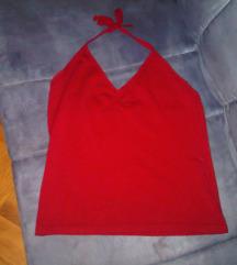 Pletena bordo majica/top s vezanjem oko vrata