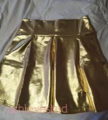 Zlatna suknja visoki struk NOVA