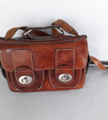 Smeđa mini torbica PRAVA BOKS KOŽA