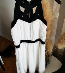Bijela haljina sa crnim trakicama