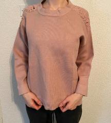 Roza majica dugih rukava Zara