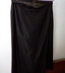 Tamno smeđa suknja od štofa