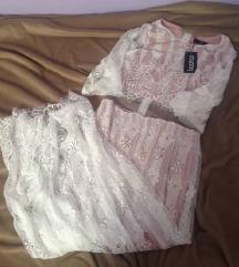 Asos Boohoo duga čipkasta haljina bež bijela