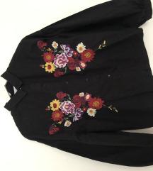 PULL&BEAR crna košulja cvjetovi