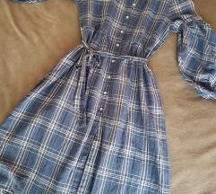 Zara karirana midi haljina L