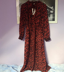 Zara crvena leopard haljina S 36 midi