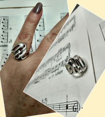 Vintage britanski prsten, srebro, 6 zigova