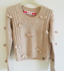 Bež pulover sa mašnama vel S