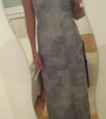 %AKCIJA% Prošarana siva duga haljina M