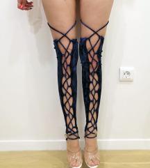 Plišane čarape za exotic pole dance 34 36 XS S