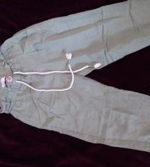 Maslinaste hlače visoki struk