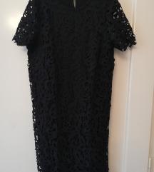 Zara crna čipkasta haljina M