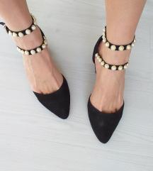 Crne Balerinke Sandale Na Petu