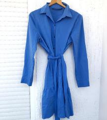 ZARA plava košulja haljina s volanima