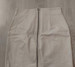 Bijela PU kožna mini suknja