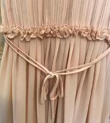H&M duga haljina puder boje (studio kolekcija)