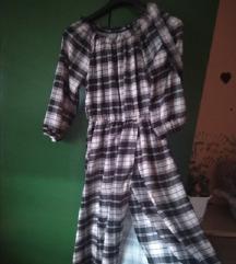 Karirana midi haljina s prorezom