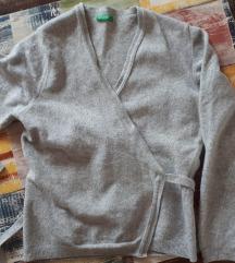 Benetton siva vunena vesta + poklon uz kupnju