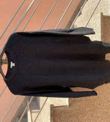 H&M oversized dugi džemper s prorezima, s pt!