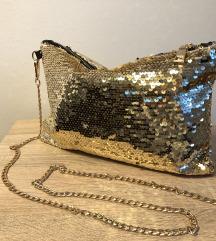 Zlatna glitter torbica
