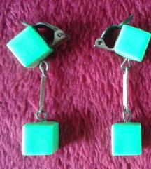 Naušnice - zeleni kvadratići (klipse)