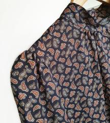 ZARA paisley print bluza s puf rukavima