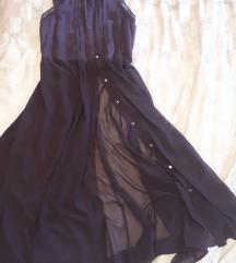 Tamnoljubičasta duga haljina