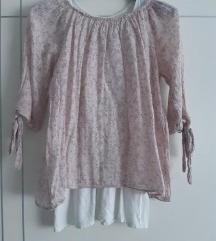 Roza bluza sa uzorkom + bijela majica bez rukava