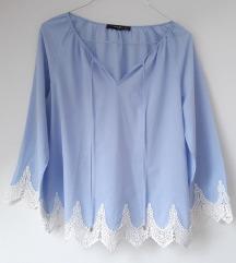 Boho plava bluza sa čipkom Hallhuber 40