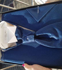 Tamnoplavi prsluk, kravata i marama - komplet