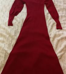 Zara pletena haljina s puf rukavima