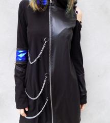 75€ Metallic plavo crna hoodie haljina
