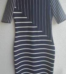 Zara tamno plava haljina na pruge