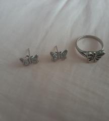 Prsten i nausnice srebro