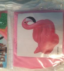 Neotvoreni flamingo na napuhavanje za pića